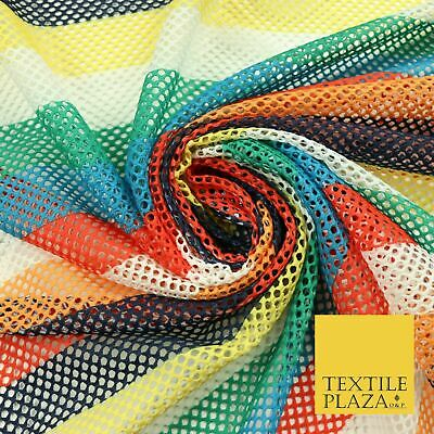 $11.03 • Buy Colourful Striped Fish Net Airtex 4mm Hole Mesh Stretch Polyester Material 4343