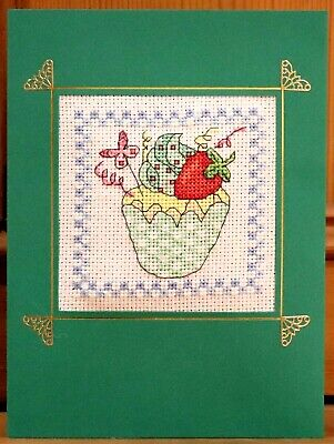Handmade Completed Cross Stitch Birthday Card Strawberry Cupcake 8 X 6  Finished • 4.25£