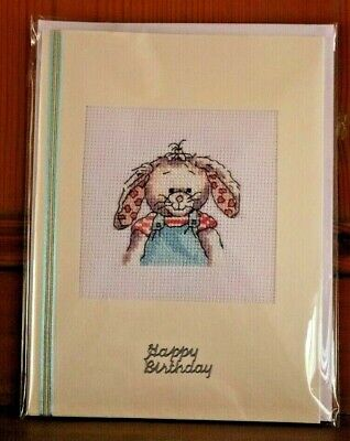 Handmade Completed Cross Stitch Birthday Card Somebunny To Love 8 X 6  Finished • 4.25£