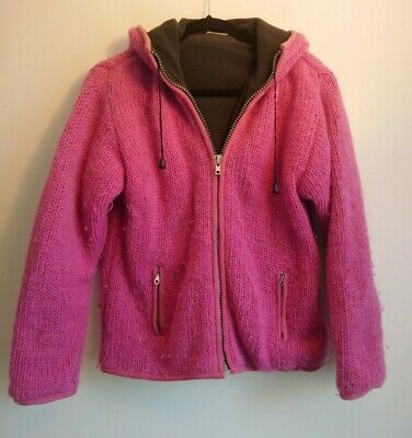 Ladies Pachamama Pink Hoodie Size M L 10 12 14 Fleece Lined Heavy Knit 100% Wool • 39.99£