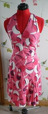 Great Plains Halter Neck Dress Pink White Fit And Flare Size S Small 10 12 50s  • 10£