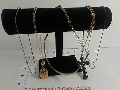 $ CDN14.37 • Buy Lot Of 5 Lovely Gold-toned Necklaces- Locket,  Cross