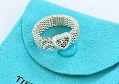 £188.32 • Buy Tiffany & Co Sterling Silver Heart Mesh Love Ring Size 11 And Pouch Rare Lovely