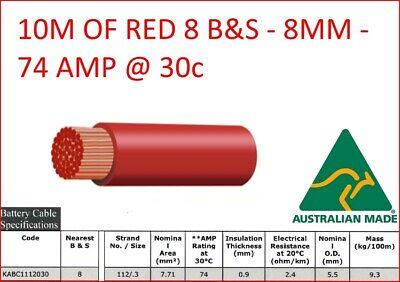 AU30 • Buy 10m METER 8mm 8 B&S SINGLE CORE RED INSULATED CABLE COPPER 12V WIRE DC-DC BNS