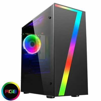 CiT LED Seven Gaming Micro ATX PC Case Rainbow RGB Fan Acrylic Glass Window MATX • 36.85£