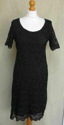 Monsoon Black Crochet Lace Embroidered Shift Dress Evening Party Size 10 • 12£