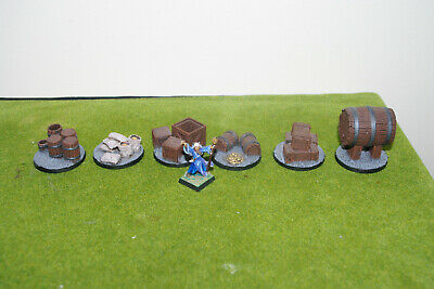28mm Wargames Scenery 6 X Large TREASURE TOKENS, OBJECTIVE MARKERS On 40mm Bases • 7£