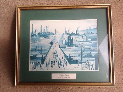 Canal Bridge (L S. Lowry RA) Framed Print Picture Wall Hanging Art 32cm X 27cm • 7.99£