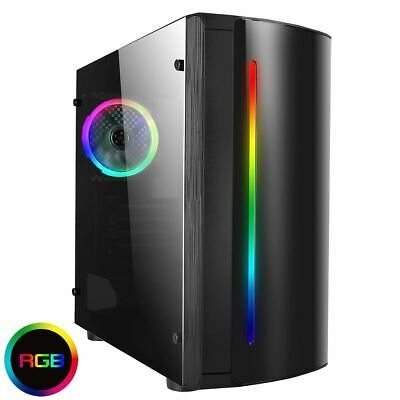 CIT Beam Rainbow RGB Micro Gaming ATX PC Case LED Fan Acrylic Window Glass MATX • 30.99£