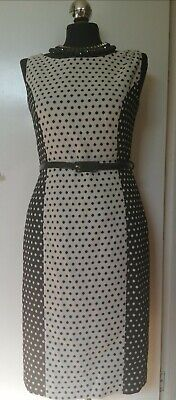 Next Polka Dot Midi Dress With Belt -  Ideal For Work New With Tags Size 10 Reg • 10£