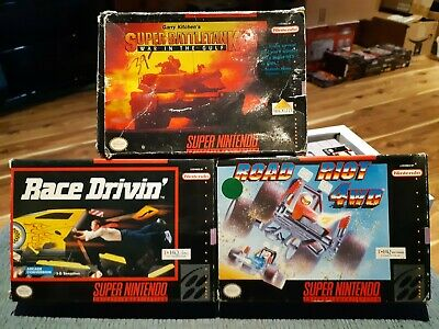 $ CDN29.99 • Buy Lot Of 3 Boxed - Super Nintendo - Road Riot 4wd, Race Drivin & Super Battletank