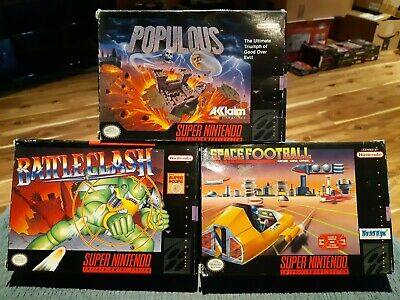 $ CDN29.99 • Buy Lot Of 3 Boxed - Super Nintendo - Battle Clash, Populous & Space Football
