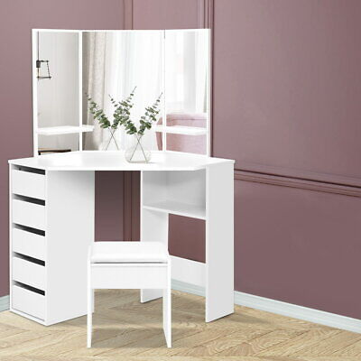 AU175.90 • Buy Artiss Corner Dressing Table With Mirror Stool White Mirrors Makeup Tables Chair