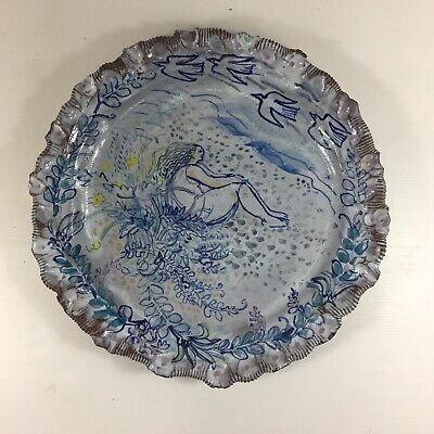 Decorative 20th Century Quentin Bell Style Studio Pottery Painted Charger 37cm D • 295£