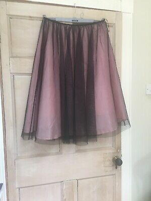 Laura Ashley Evening Net Skirt Black And Pink Size 14 • 10£