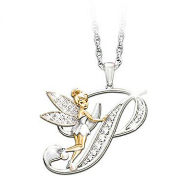 £2.99 • Buy Stunning Tinkerbell Fairy Alphabet Letter  P   Pendant Necklace With Organza Bag