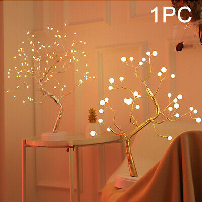 LED Cherry Blossom Tree Bonsai Light Table Bedside Lamp Room Party • 13.98£