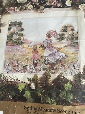 """DMC Counted  Cross Stitch  Kit Spring Meadow Scene 18"""" X 14""""finished Size • 3.20£"""