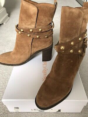See By Chloe Tan Suede Boots. Good Condition With Box, 3:5 Inch Heel • 50£