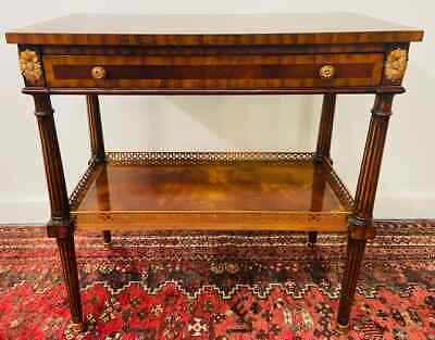 $2600 • Buy Regency Maitland Smith Brass Inlay On Mahogany Table With Side Extensions