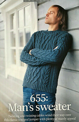 KNITTING PATTERN Mens Twisted Cable Jumper Textured Sweater Bergere De France • 3.20£