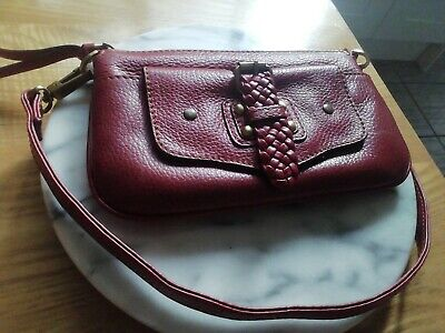 Jane Shilton Clutch / Purse Plum Red Leather Unused FAB CONDITION • 2.50£