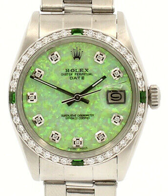 $ CDN6850.36 • Buy Mens Vintage ROLEX Oyster Perpetual Date 34mm GREEN OPAL Dial Diamond Stainless