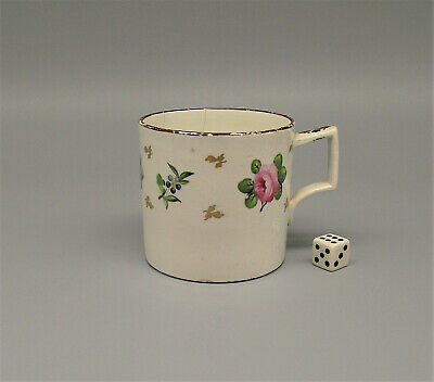 Antique Pearlware Coffee Can Hand Painted Roses Circa 1800 • 9.99£