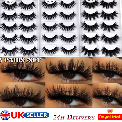 5Pairs 4D Faux Mink Hair False Eyelashes Full Volume Thick Fluffy Wispies Lashes • 3.47£