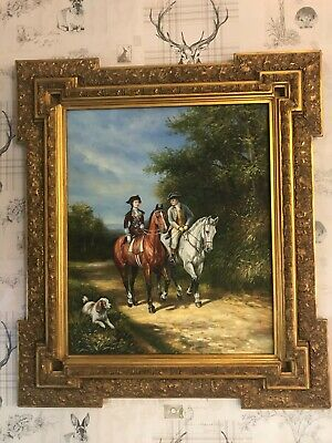 Vintage Hunting Acrylic / Oil Painting Gold Gilt Frame Amazing Piece • 2,495£