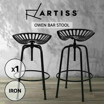 AU134.90 • Buy Artiss 1X Kitchen Bar Stools Tractor Bar Stool Chairs Vintage Swivel Metal Black