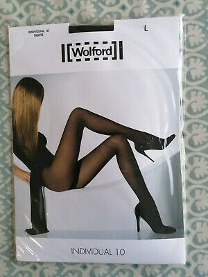 WOLFORD  INDIVIDUAL 10  Tights Nearly Black - 10 Denier - SHEER LUXURY! • 12.99£