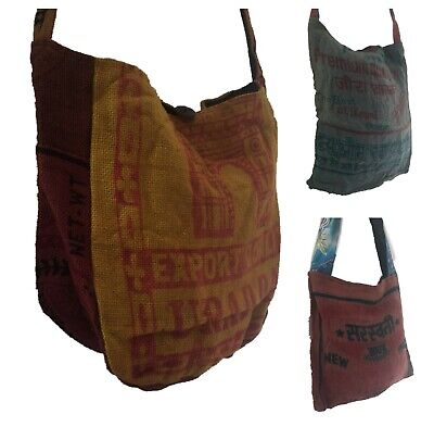 £9.95 • Buy Recycled Rice Sack Bag Jute Covered With Zip Upcycled Natural Eco Shoulder Sling