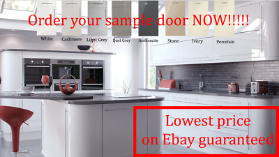 White Gloss Kitchen Doors Draw Fronts Plinth Cornice End Panels Free Hinge Holes • 10.23£