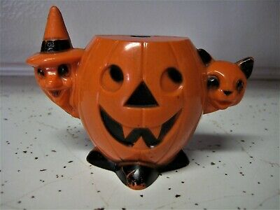 $ CDN33.27 • Buy Vintage Rosbro Halloween Plastic Candy Container Witch Cat Pumpkin