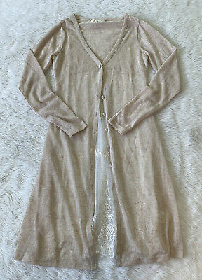 $ CDN32 • Buy A'reve Beige Long Lace Back Delicate Knit Cardigan Size Small Anthropologie