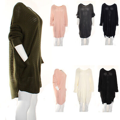 Ladies Jumper Dress Medium Cable Knit Asymmetric Slouchy Knitted Top Pullover  • 18.95£