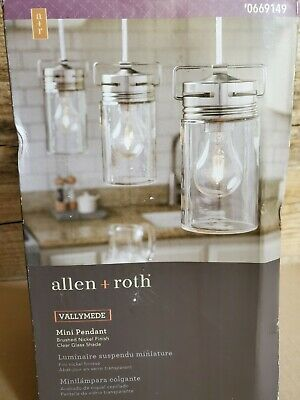$39.99 • Buy Allen + Roth Vallymede Brushed Nickel Farmhouse Clear Glass Jar Pendant Light