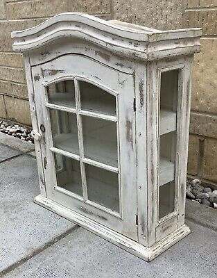 Small Painted Shabby Chic Wall Cupboard Display Cabinet • 34.99£