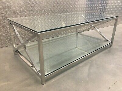 Neptune Manhattan Glass And Chrome Kitchen Dining Lounge Coffee Table RRP£690 • 475£