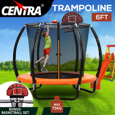 AU339.99 • Buy Centra 6FT Trampoline Round Trampolines Basketball Kids Enclosure Safety Net
