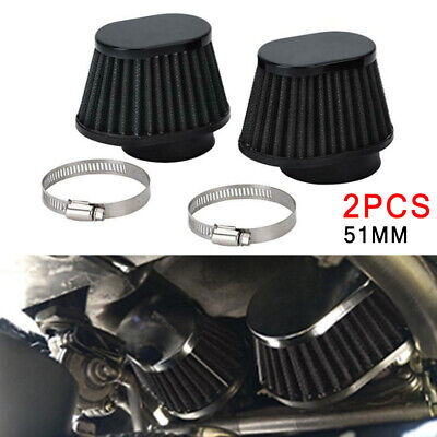 $23.81 • Buy 2Pcs 51mm Black High Performance Motorcycle Parts Pod Air Filter Intake Cleaner