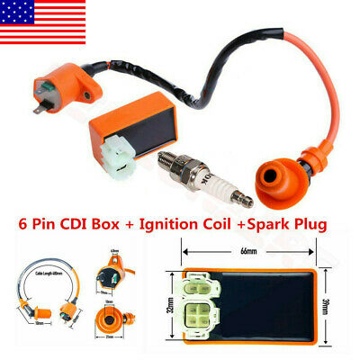 $14.94 • Buy Racing CDI Box 6 Pin+Ignition Coil+Spark Plug For GY6 50-150cc Moped Scooter USA