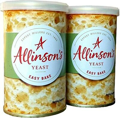 X2 Large 100g Allinson's Easy Bake Yeast Tins ~ Machine Baking ~ Or Hand Bread • 3.95£