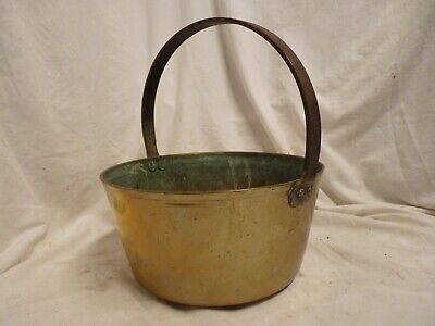 £50 • Buy Antique Victorian Heavy Solid Brass Jam Pan, Hanging Cooking Pot With Handle