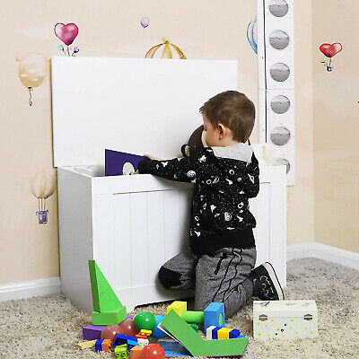 White Wooden Toy Box Storage Unit Childrens Kid Chest Toyboxes Strong Toybox • 28.95£