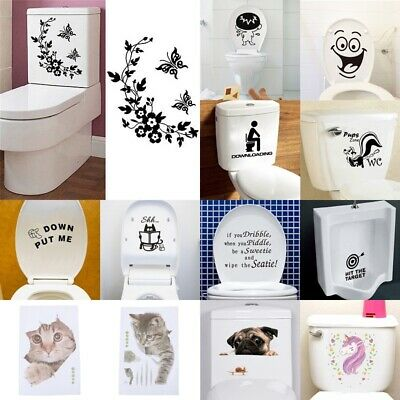 Durable Bathroom Toilet Decoration Seat Art Wall Stickers Decal Home Deco JETSBE • 2.65£
