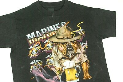 $ CDN134.04 • Buy Vintage 80s US Marines Bulldog T Shirt Neon 3D Emblem Just Brass Mens M