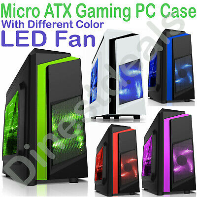 CiT F3  Micro ATX Tower Gaming PC Case USB 3.0 12cm  LED Fan MATX Side Window UK • 32.95£