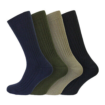 4 Pairs Men's Military Action Wool Blend Outdoor Thermal Socks 6-11 UK - ASST • 14.99£